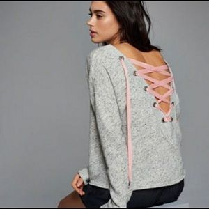 Abercrombie & Fitch Gray pink lace up sweatshirt